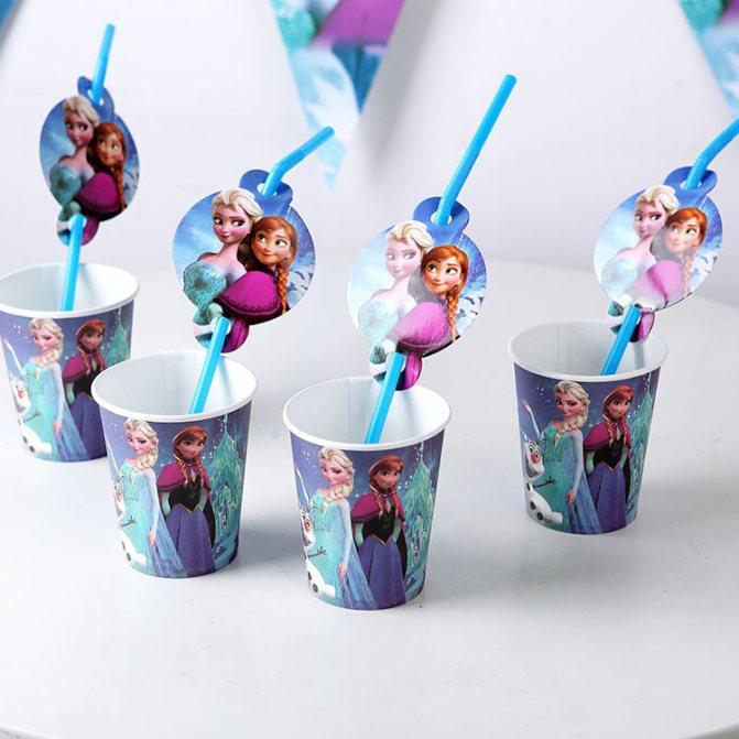 10-шт-лот-мультфильм-шаблон-снежная-королева-эльза-анна-тематическая-вечеринка-украшения-одноразовая-посуда-питьевой-соломинки