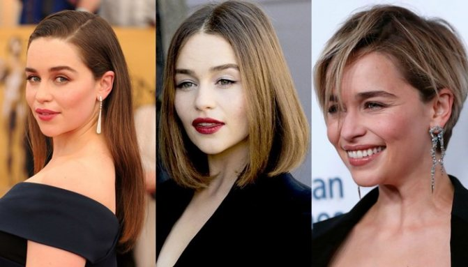 10 знаменитостей с длинными волосами, боб-каре и короткой стрижкой пикси - Эмилия Кларк
