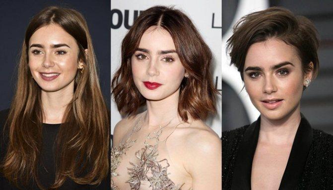 10 знаменитостей с длинными волосами, боб-каре и короткой стрижкой пикси - Лили Коллинз