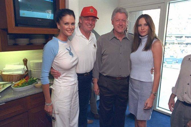 2000 год. Фотомодель Кайли Бакс, Дональд Трамп, Билл Клинтон и Меланья Кнаусс, будущая Трамп (слева направо).