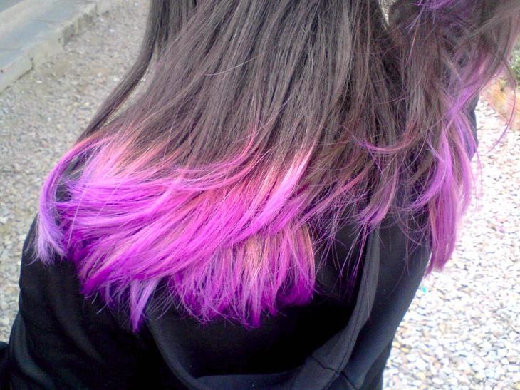 нам фиолетовые волосы фото на концах важно как для