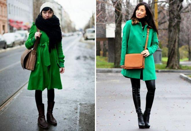 аксессуары к зеленому пальто