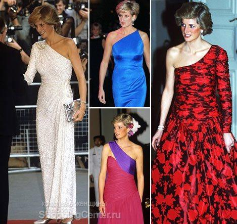 асимметричные платья принцессы Дианы