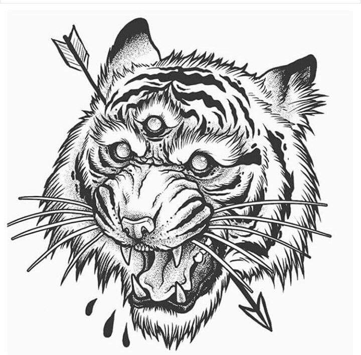 картинка тату животных голов черно белое вам день