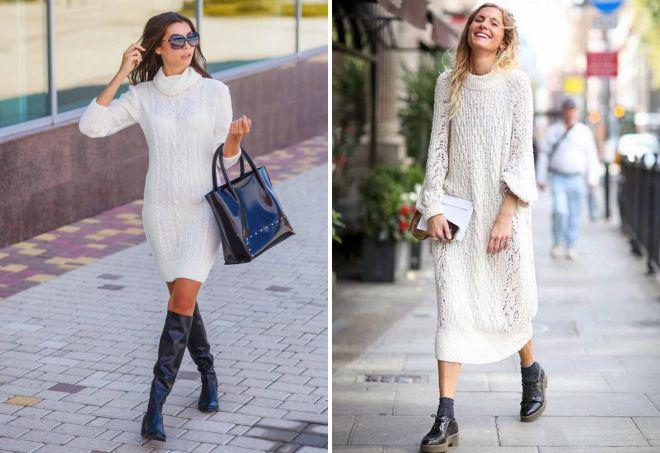 белове платье свитер