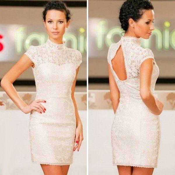 Белые коктейльные не свадебные платья для невесты