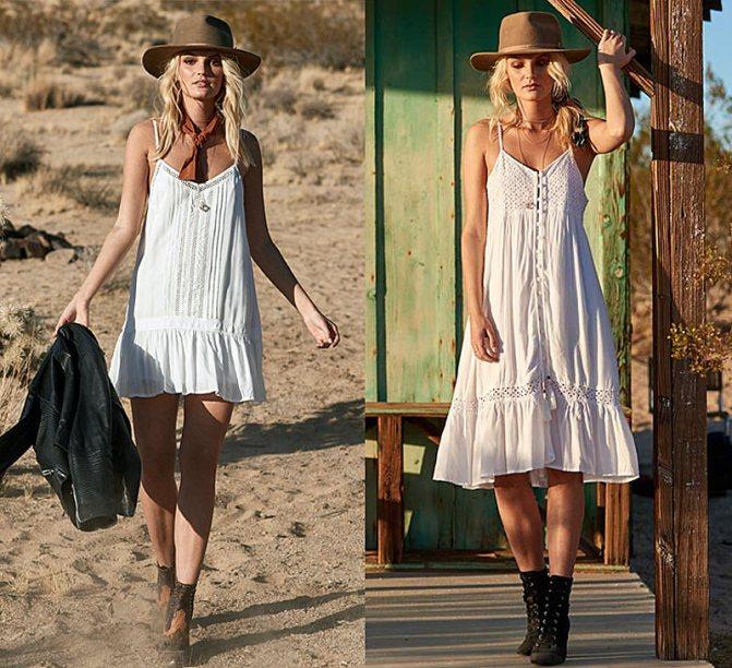 Белые платья в стиле бохо с кружевами