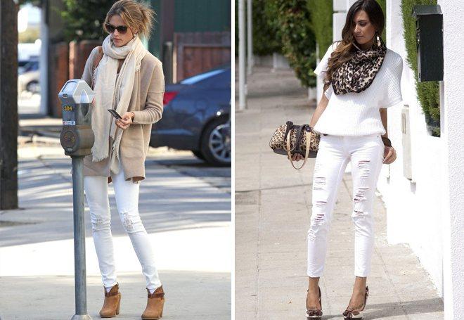 белые потертые джинсы