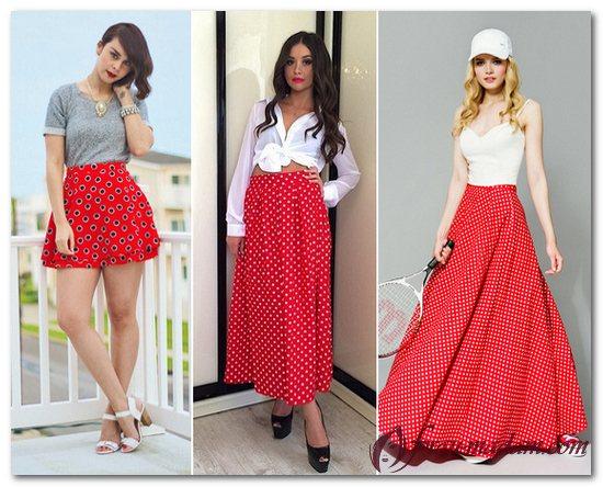 белый топ красная юбка
