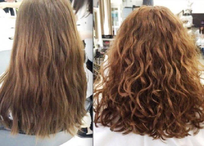 Биозавивка волос до и после