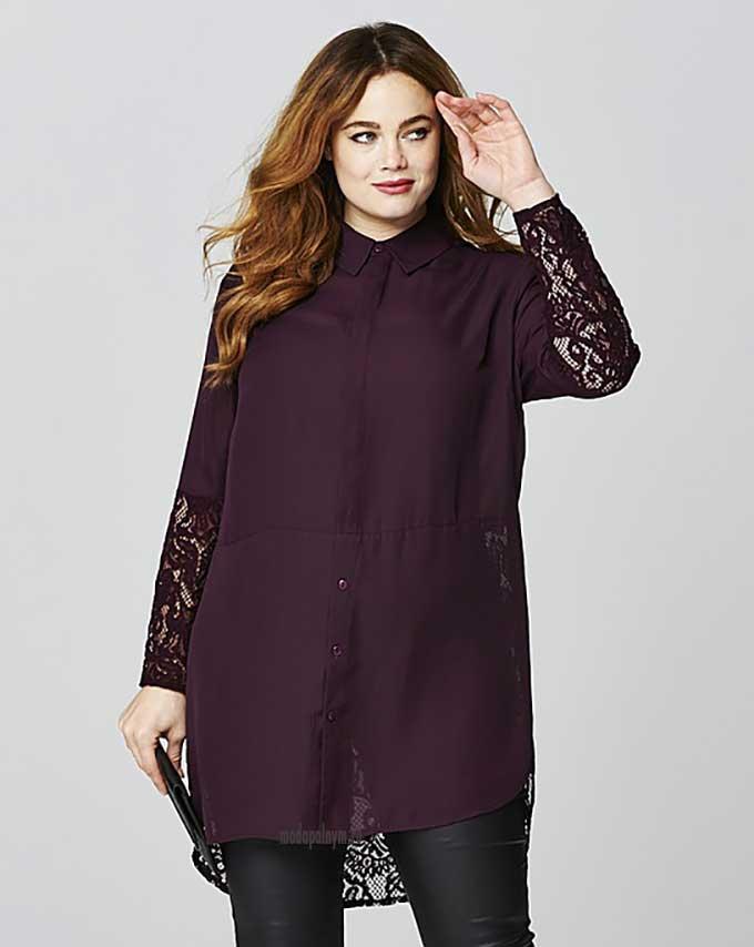 Блуза с кружевными рукавами большого размера