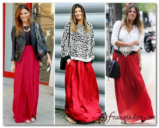 блузка под красную юбку фото
