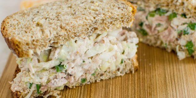 Блюда из капусты: Бутерброды с капустой и тунцом