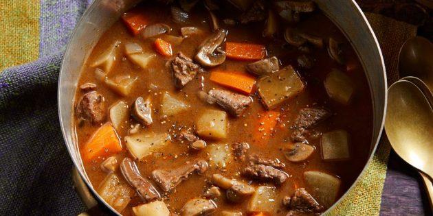 Блюда из репы: Рагу с репой, говядиной и грибами