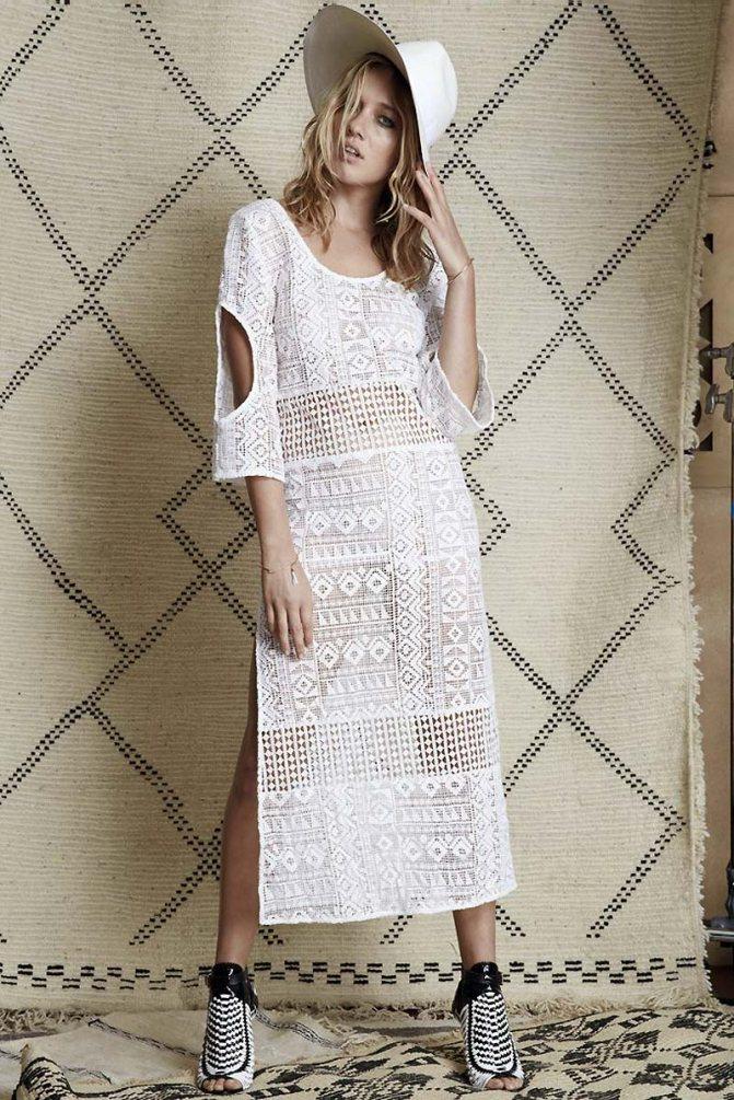 Богемное платье из белого кружевного полотна