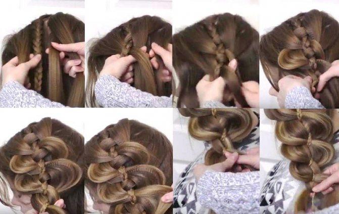 Большая объемная коса из четырёх прядей, фото плетения поэтапно