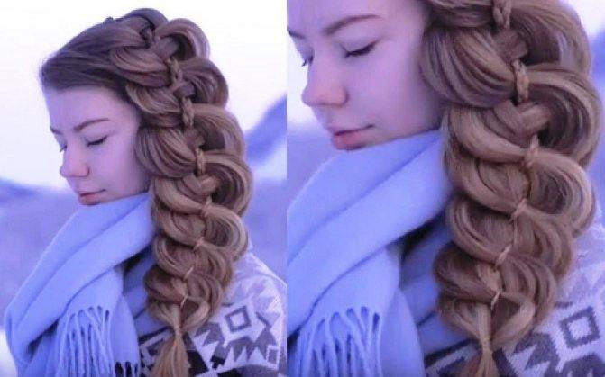 Большая объемная коса из четырёх прядей