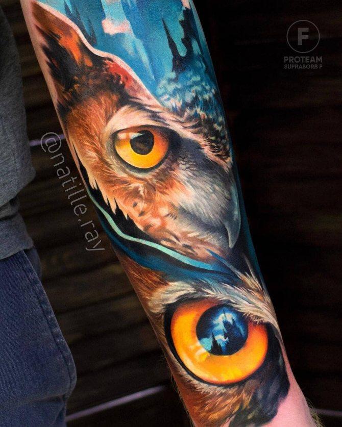 Большая Татуировка Оранжевых Глаз Совы