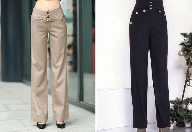 брюки с широким поясом