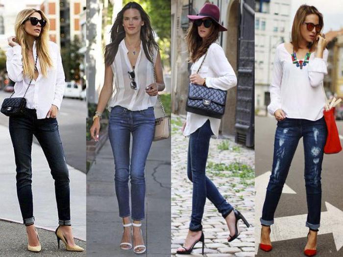 черная блузка с джинсами