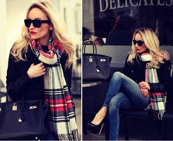 черное пальто с шарфом