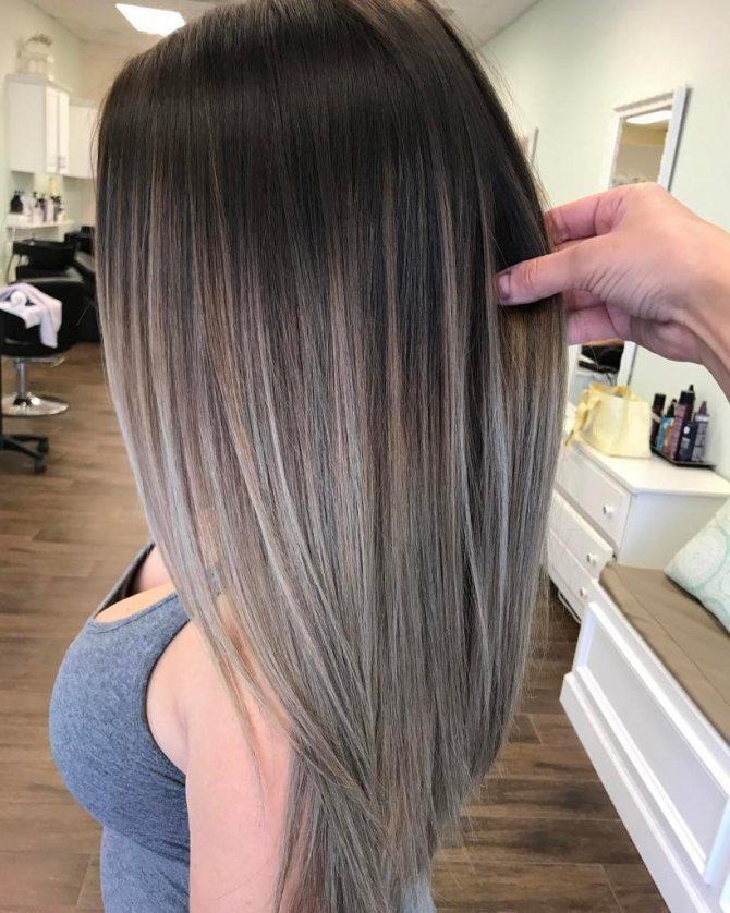 Черный цвет волос с пепельным оттенком фото
