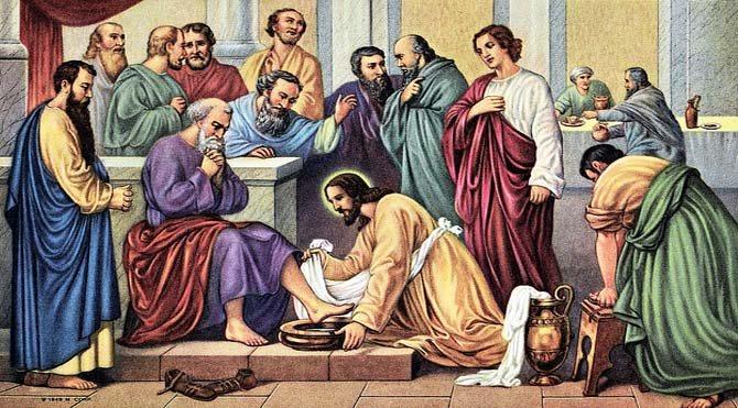 Чистый четверг - Иисус моет ноги ученикам