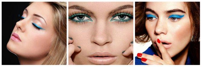цветные стрелки вечерний макияж