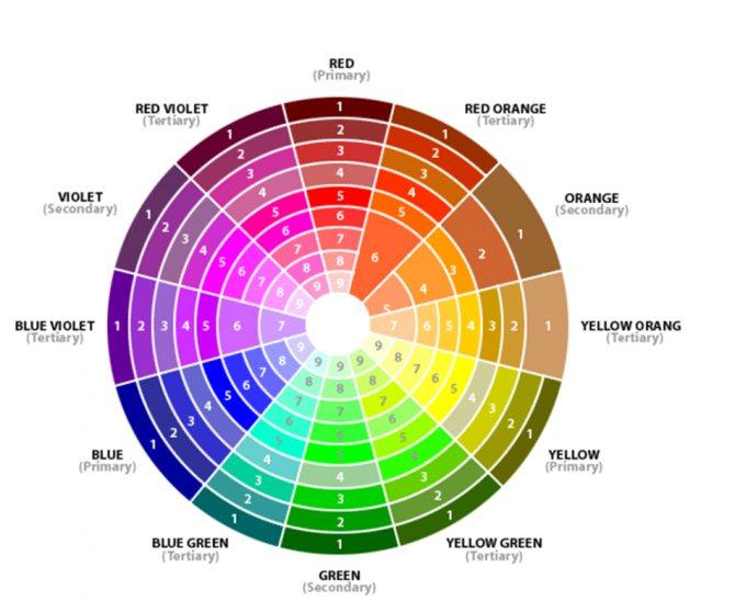 Цветовой круг для смешивания красок для волос