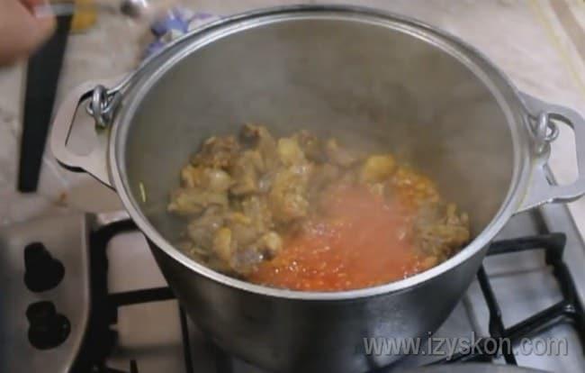 Далее добавляем к нашему будущему супу харчо из говядины томатную пасту, натертые помидоры и соус ткемали.