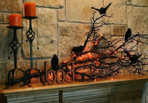 Декор из веток на Хэллоуин