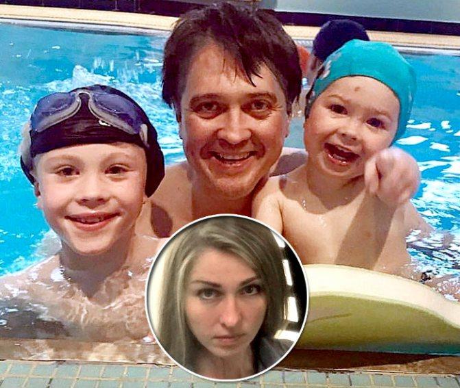 Денис с сыновьями Ваней и Федей, которых ему родила юрист Ольга Головина