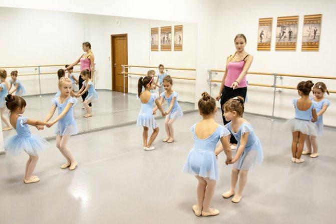 Дети на занятии по художественной гимнастике