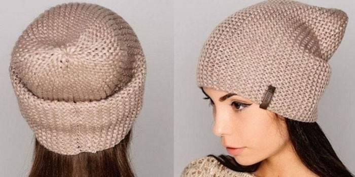 Девушка в шапке-бини