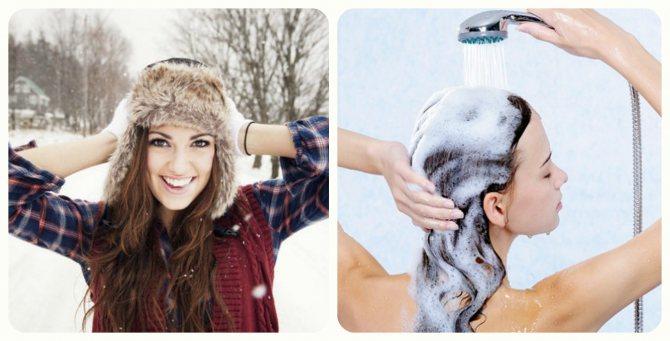 девушка в шапке , девушка моет голову