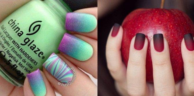 Дизайн для ногтей градиент лаками гель красками