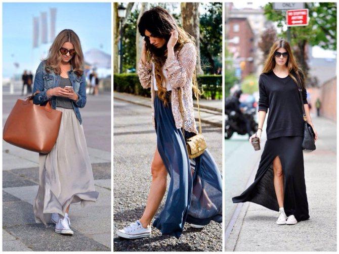 длинные юбки с кроссовками