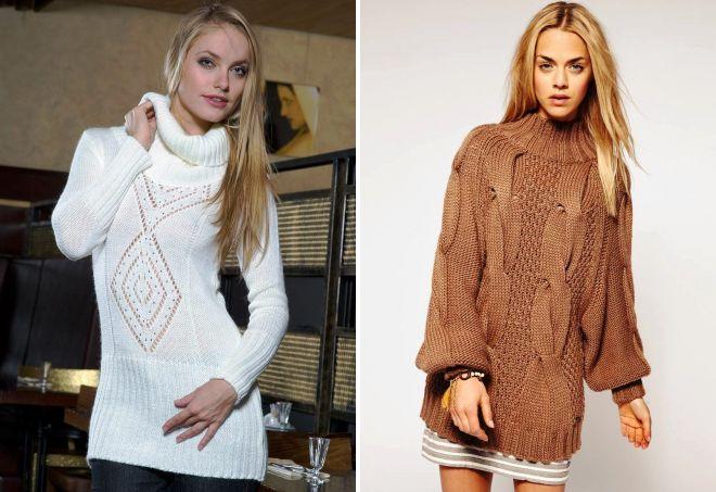 длинный вязаный свитер