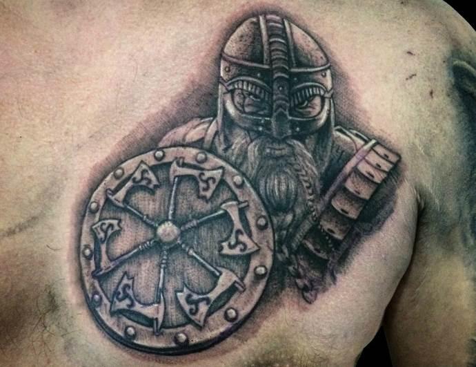 древний воин со щитом