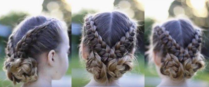 Два пучка из вывернутых французских кос для девочки