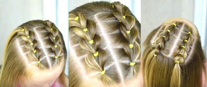 Две параллельные косички из резинок в сочетании с короткими распущенными волосами