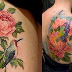 Две татуировки с пионами, с бабочкой и с птицей