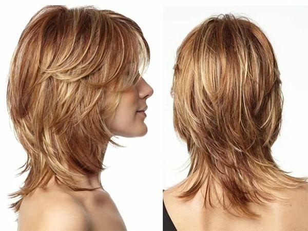 Двойной каскад на средние волосы