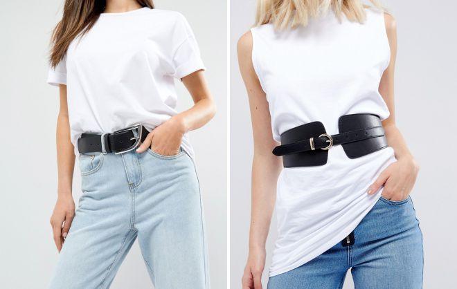 джинсы с широким поясом