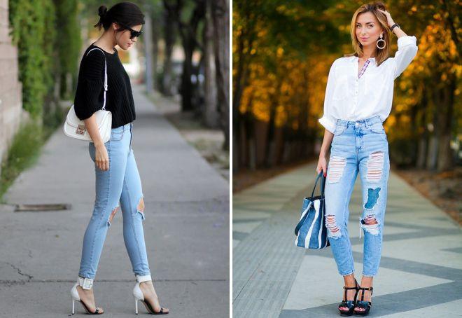джинсы с высокой талией модные образы