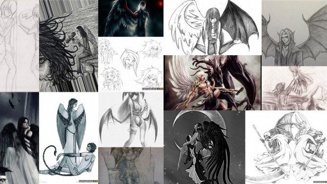 эскизы ангел и демон тату