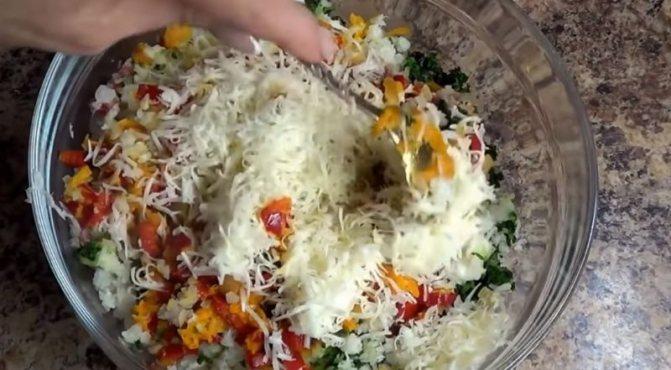 фарш с овощами и сыром