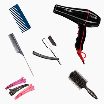 фен, брашинг, расчёска с частыми зубьями и тонким хвостиком, зажимы для волос, гребень, опасная бритва