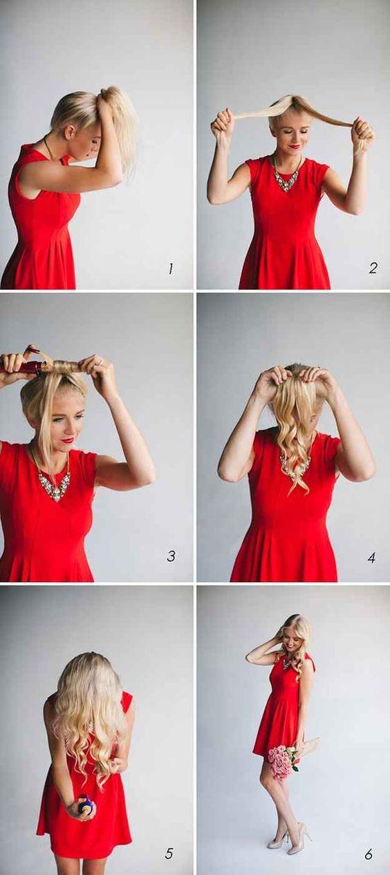 Фиксация волос в хвост для накрутки