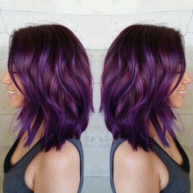 фиолетовое омбре на коротких волосах